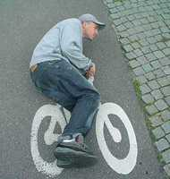 Riding a bicycle painted on the road